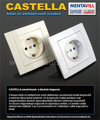 Mentavill Castella elektromos szerelvények: kapcsolók, konnektorok