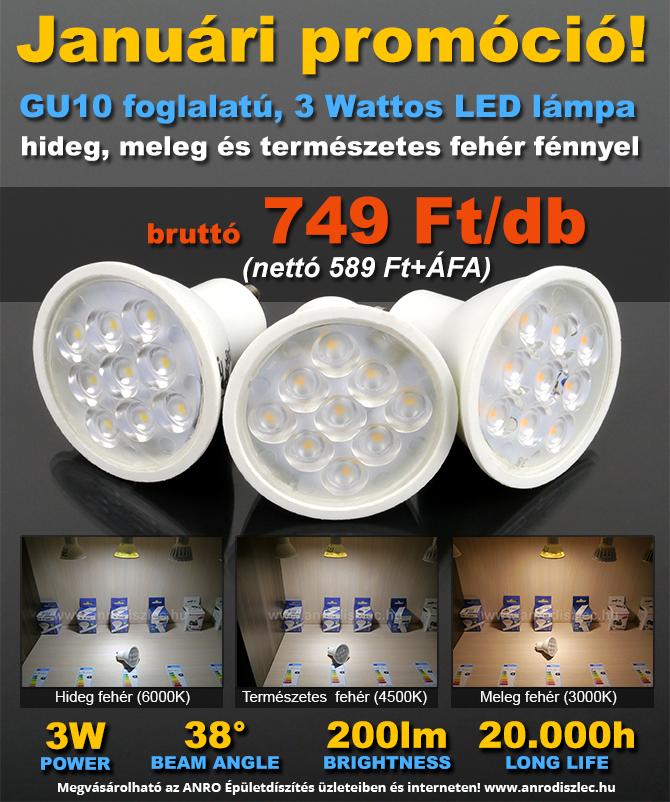 Januári LED lámpa promóció 749 Ft/darab!