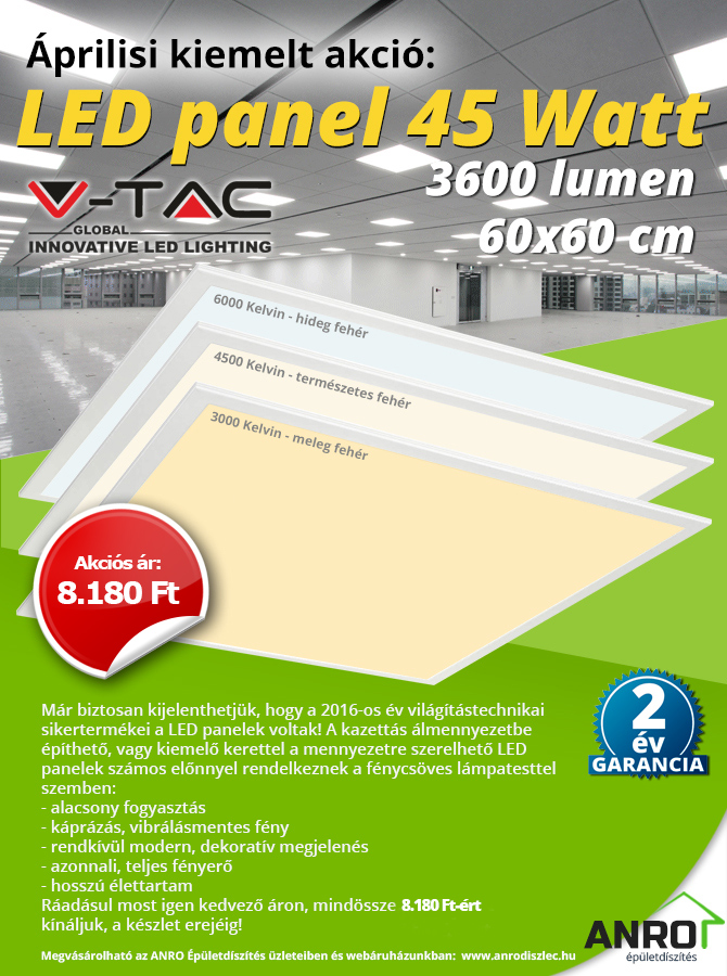 60 cm x 60 cm-es LED panel 45W: 8890 Ft!