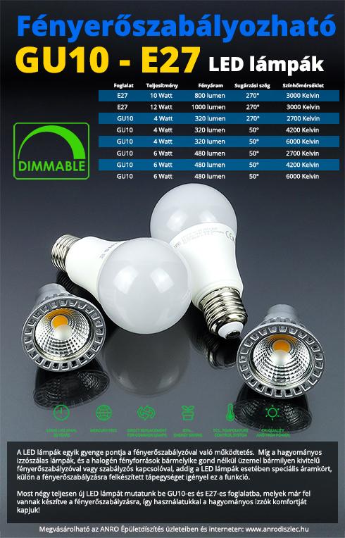 Dimmelhető, fényerőszabályozható LED lámpák