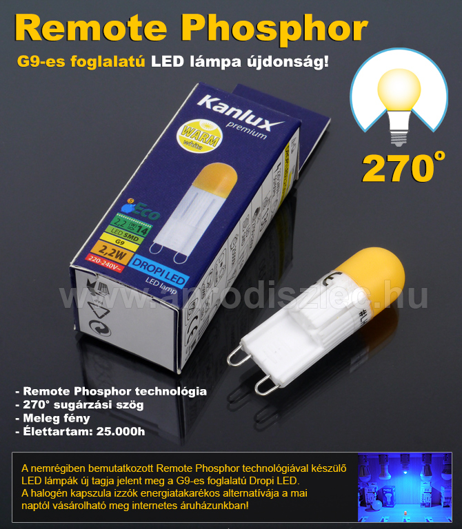 Remote phosphor G9 LED lámpa