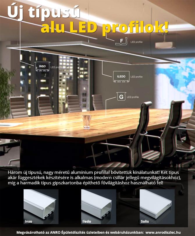 Függeszthető és gipszkartonba építhető alu LED profilok!