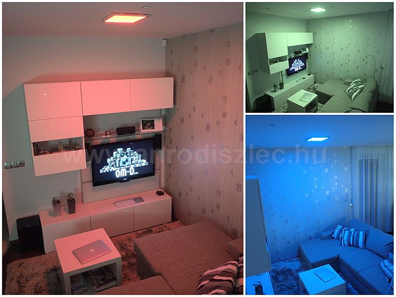 Színváltós világítás egy nappaliban - RGB LED szalagot tartalmazó LED panellel