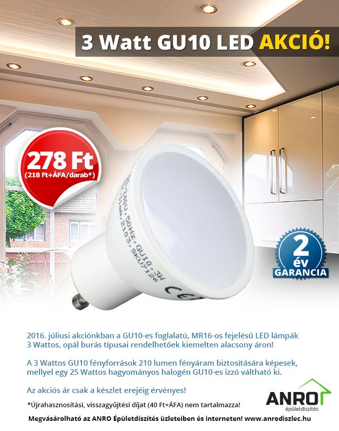V-TAC GU10 3 Wattos LED lámpa akció: 399 Ft/darab!