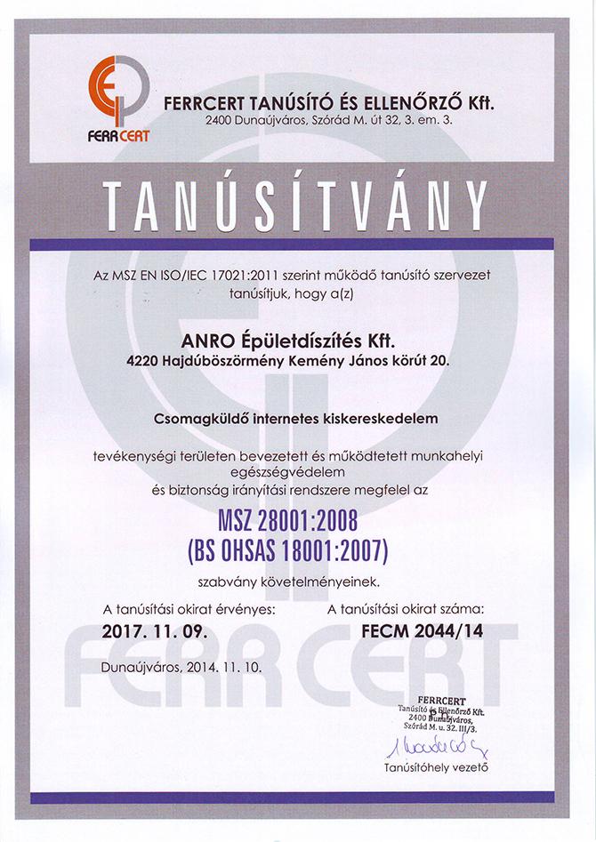 ISO 28001:2008 - elkötelezettség az egészség felé