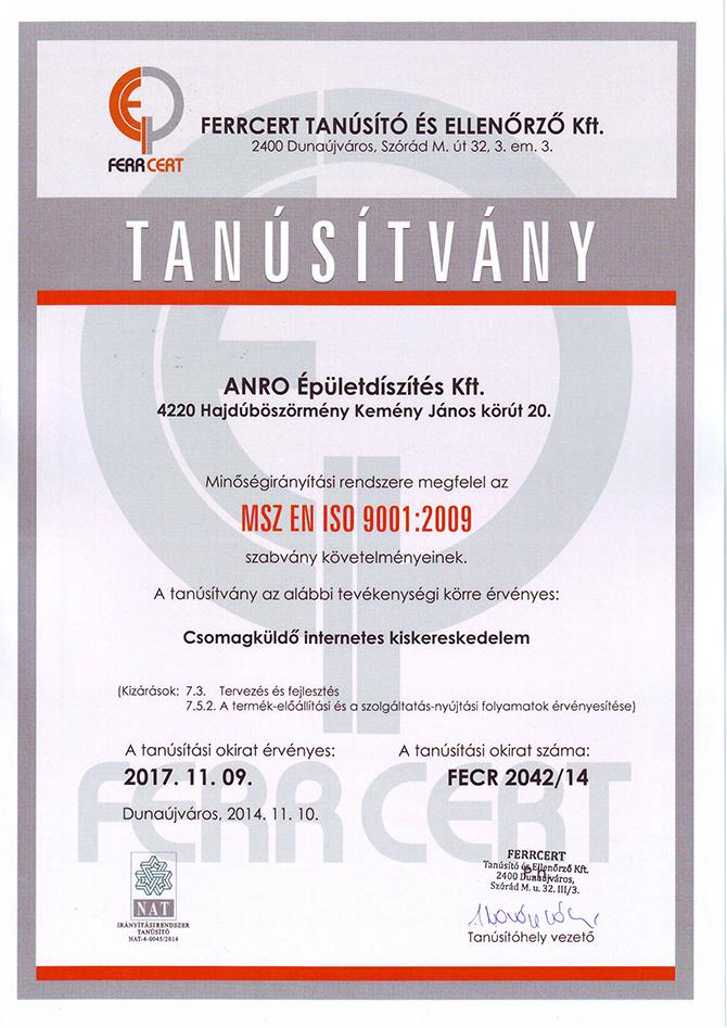 ISO 9001:2009 minőségirányítási rendszer