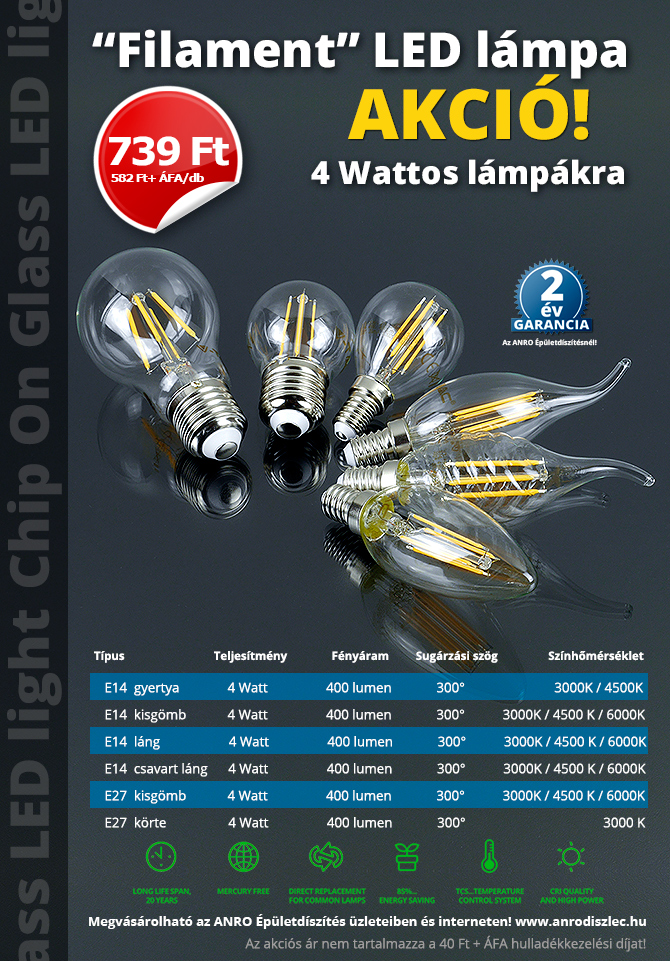 COG LED lámpa - 4 wattos LED lámpák átlátszó burával, akciós áron