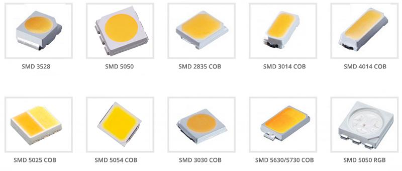 A LED szalagokon lévő LED chipek típusai  3528 - 2835 - 5050 - 3014 - 3030 - 5054 - 5040 - 5630 - 5730