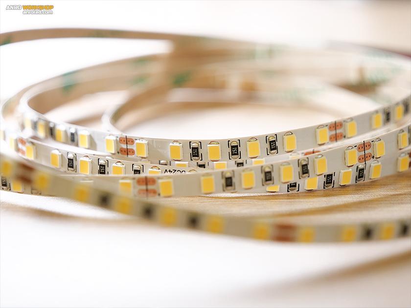 Narrow led strip: 5 mm széles 24V LED csík, 1 méteren 120 darab 2835 SMD LED, 5 méteres tekercs kétoldali betáppal
