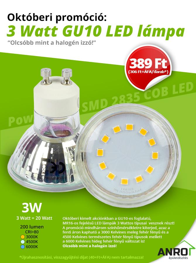 GU10-es foglalatú 3 Wattos LED lámpák 389 Ft/darab áron!