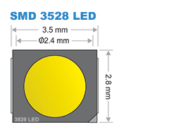 SMD 3528-as LED chip méretei