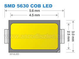 SMD 5630-as Chip On Board LED méretei