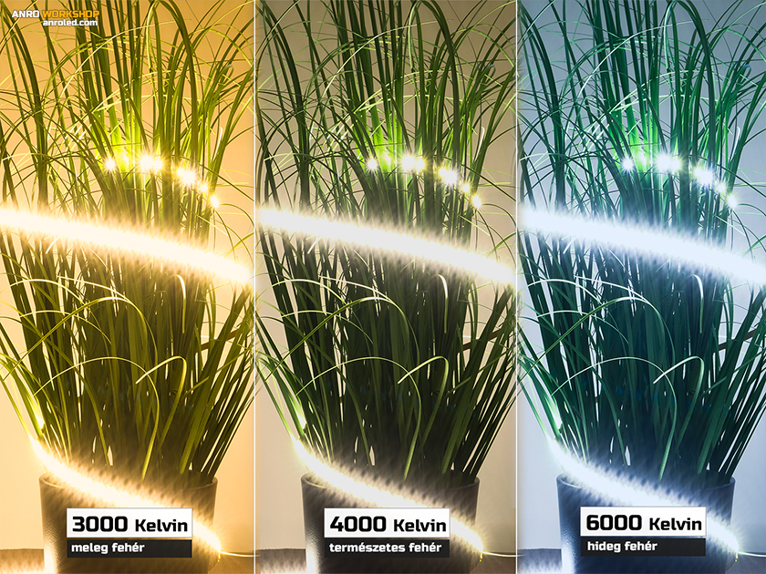 Keskeny LED csíkok 3-féle színhőmérséklettel: meleg, természetes és hifegfehér fényű változatok