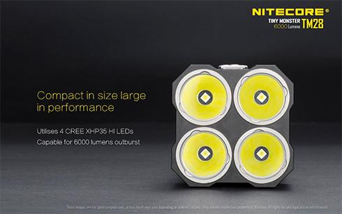 Kompakt méret - nagy teljesítmény: köszönhetően a 4 db CREE XHP35 HI LED chipnek.