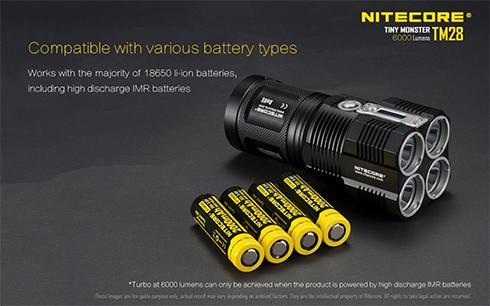 A legtöbb 18650-es újratölthető elemmel használható.