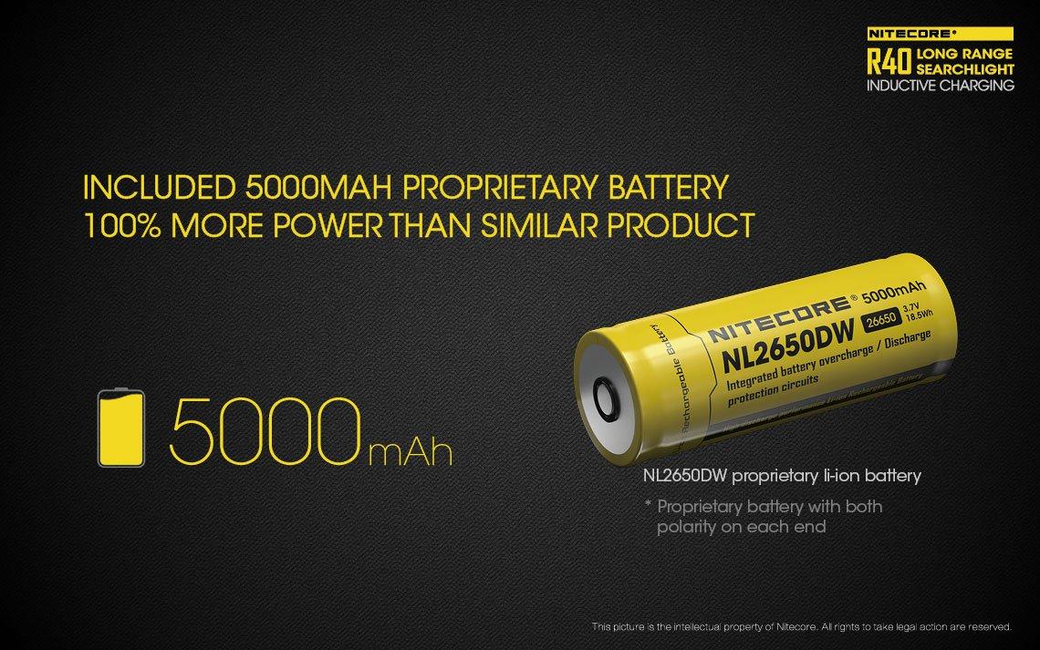 5000 mAh-s akkumulátorral ellátva, mindkét pólus megtalálható mindkét végén (szabadalmaztatott). Ez a megoldás teljesen kizárja a fordított polaritásból adódó hibákat