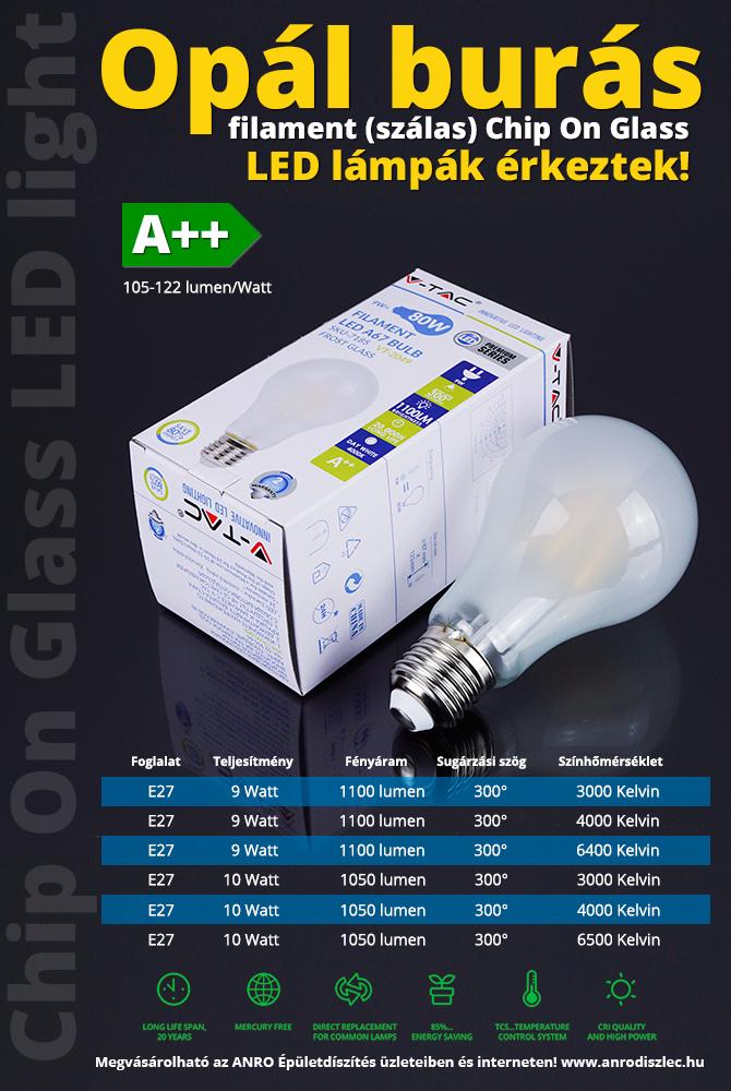 Opál burás filament LED lámpák 105-122 lumen/Watt teljesítménnyel!
