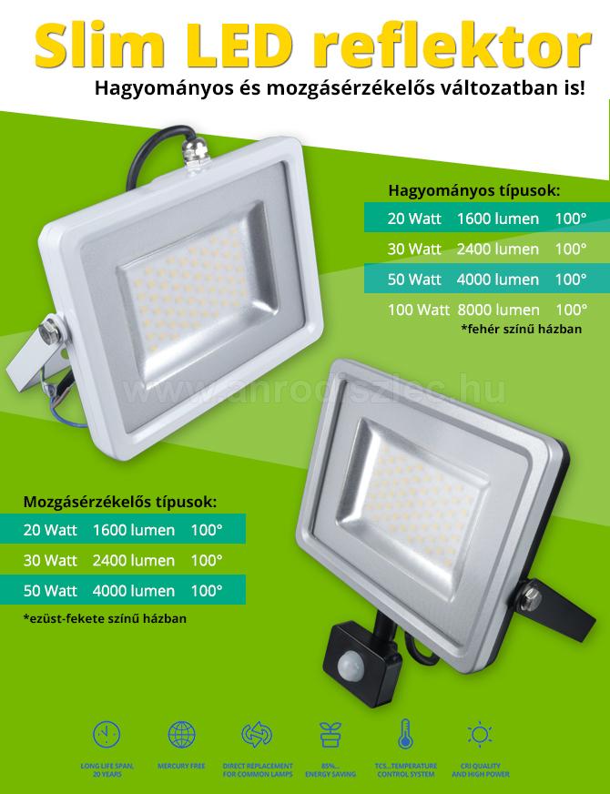 Vékony LED reflektorok fehér és ezüst házzal