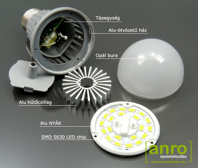 10 Wattos E27 LED lámpa szerkezete