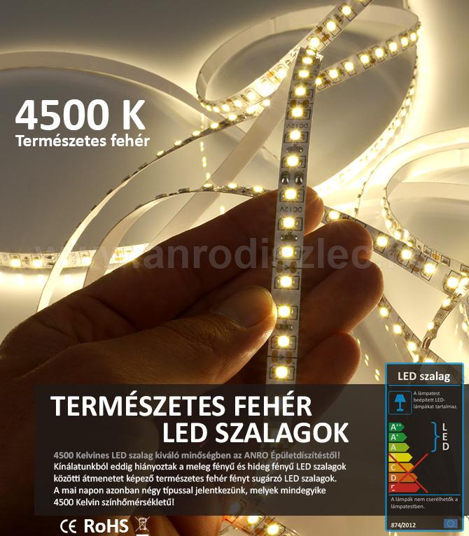 Természetes fehér fényű LED szalagok