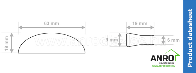 ANRO üveglaphoz való LED polcvilágító méretrajz