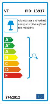 V-TAC csillár 3793 (E27 foglalat) - Króm bura - sárga vezeték