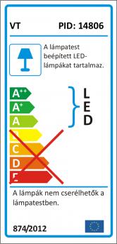 V-TAC LED sínes lámpa - 1303 (15W/3F) hideg fehér