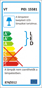 V-TAC LED sínes lámpa - 1295 (30W) meleg fehér, 5 év
