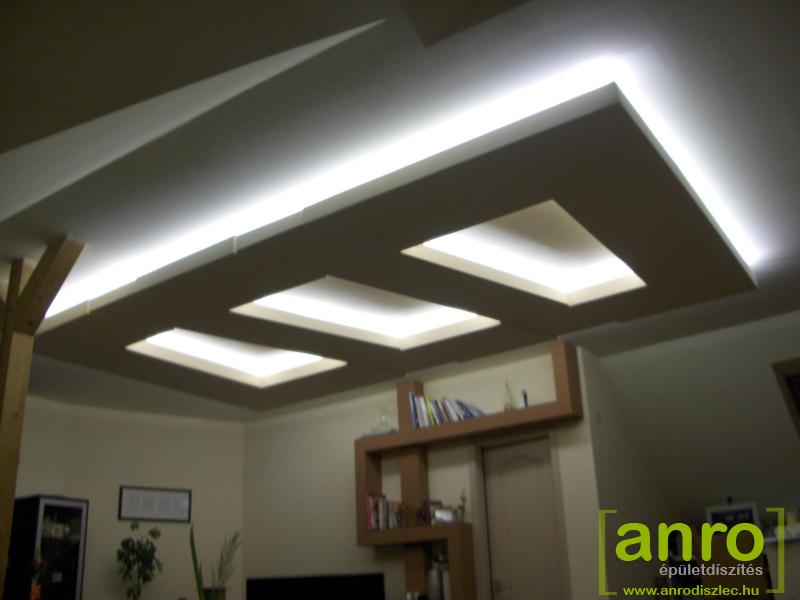 Különlegesen kialakított gipszkarton álmennyezet fehér LED fényekkel