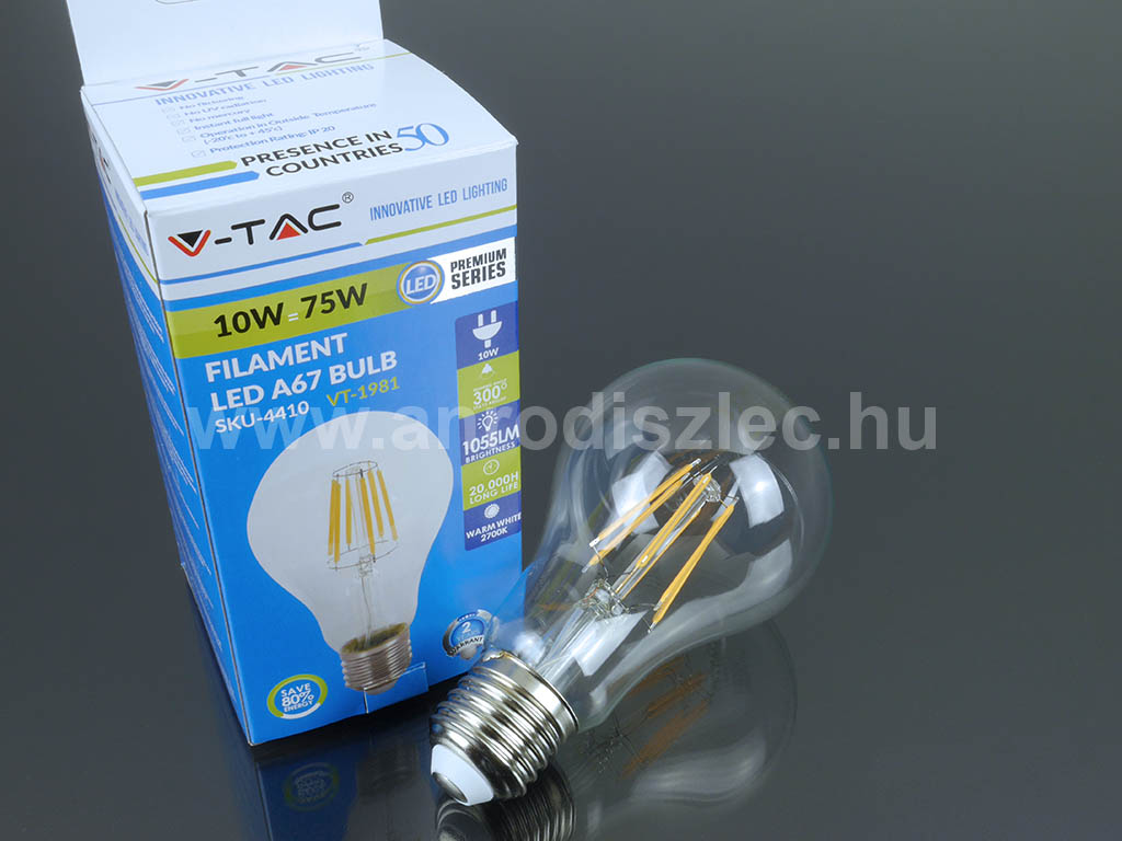 V-TAC átlátszó filament LED körte. 10 Watt LED = 75 Watt hagyományos fény.