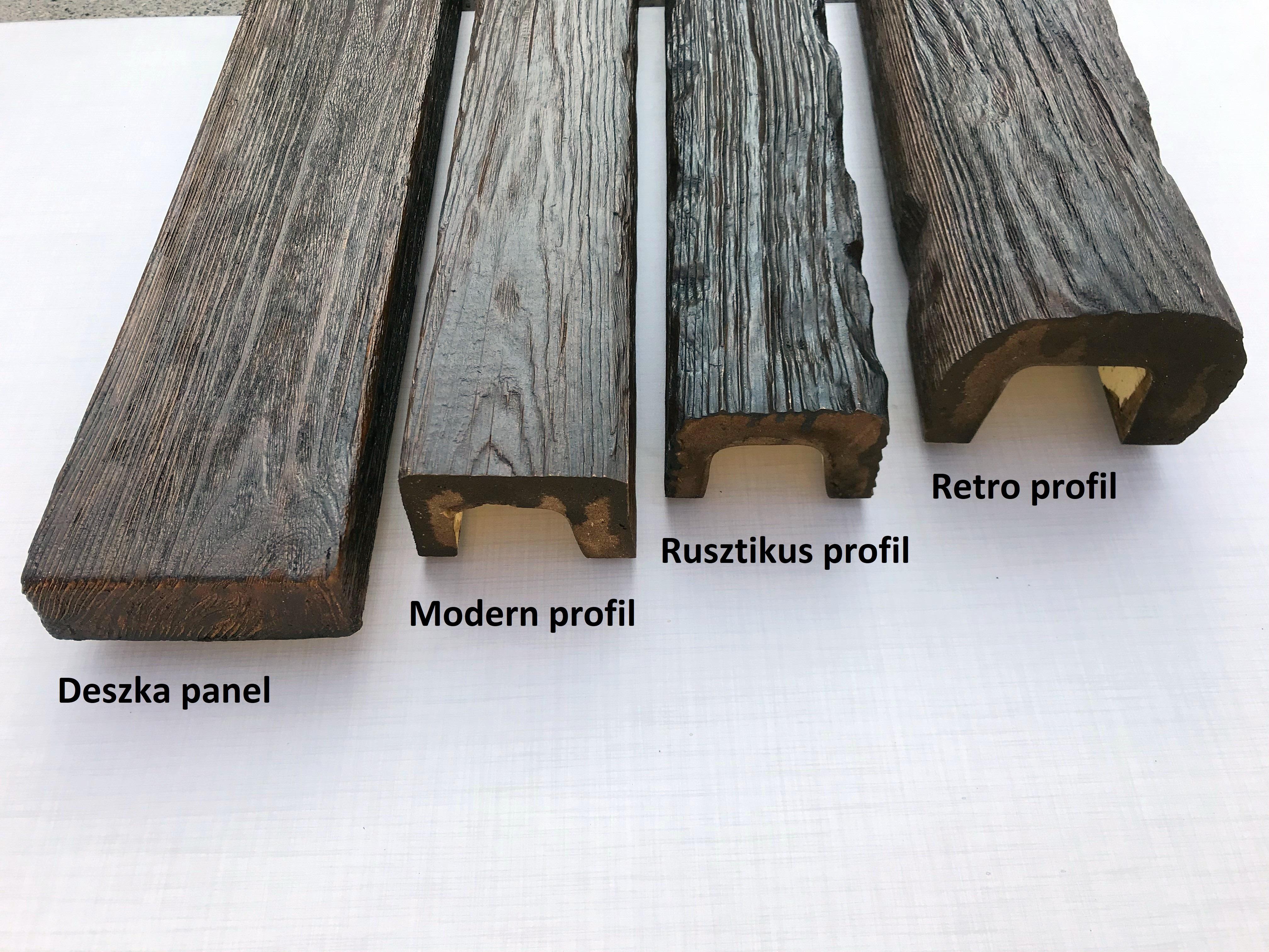 Decowood álgerenda mahagóni színben: antik deszka, modern, rusztikus és retro gerendaprofil