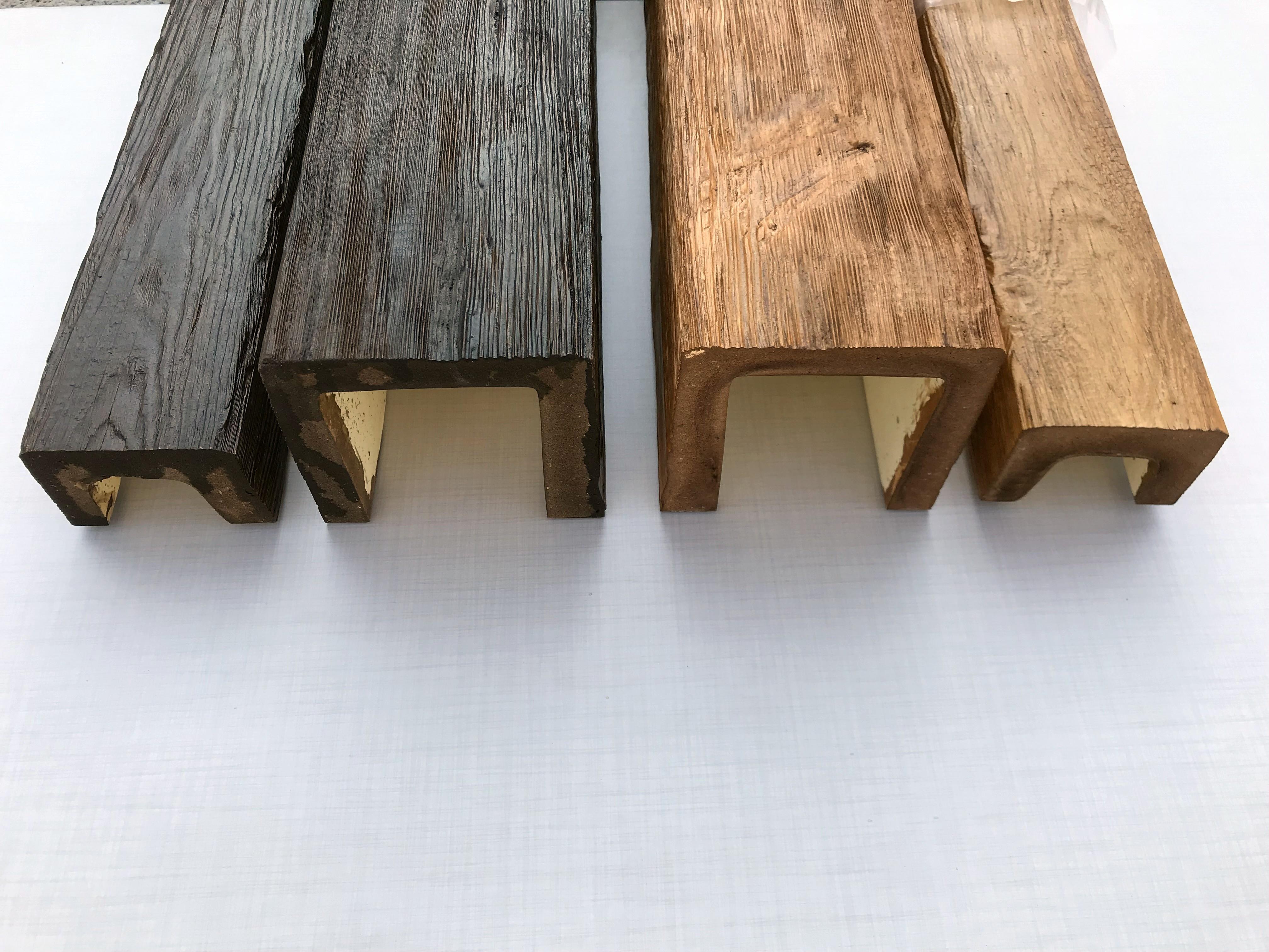 Decowood antik gerenda modern, szögletes formával, kis és nagy méretben, fa erezettel, mahagóni és bükk színben