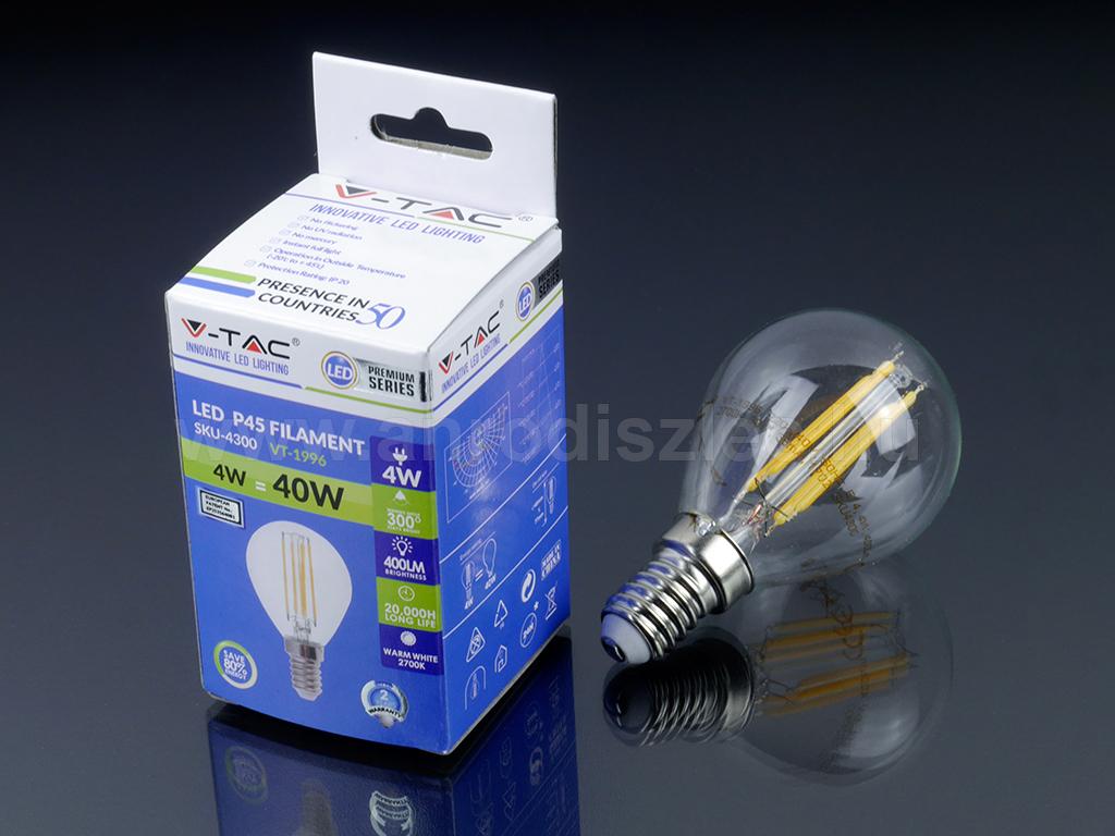 Kis menetes E14 fejű LED villanyégő kisgömb alakú 4W = 40W