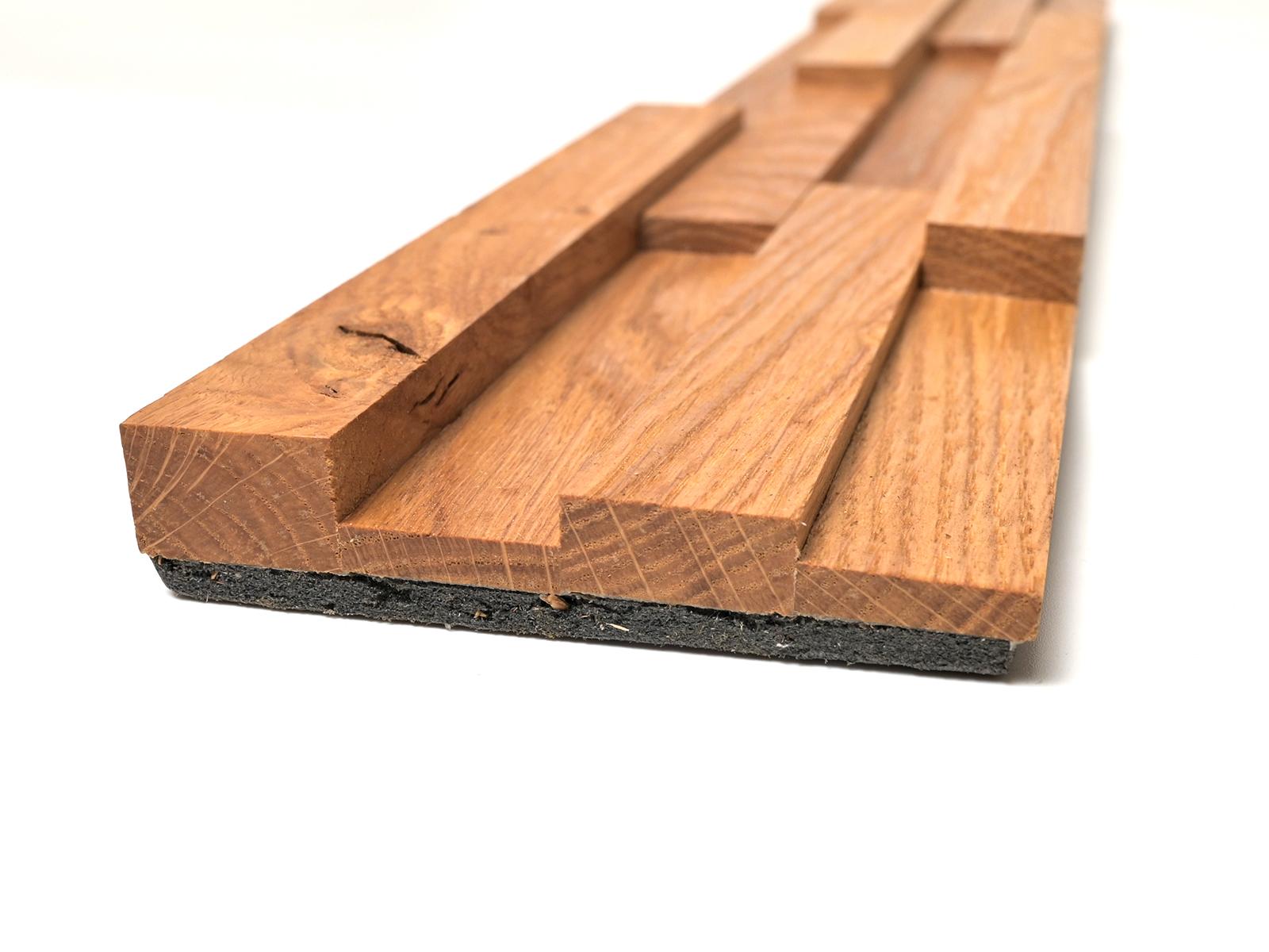 Wallure fa falburkoló panel: tölgyfa hasábok polisztirol hordozón