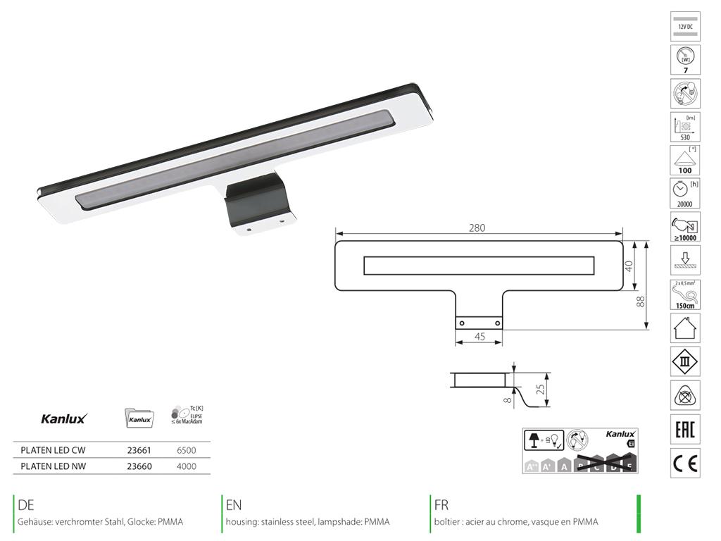 Kanlux Tükör-bútor világítás Platen LED IP44 (7 Watt) - hideg fehér - Ár: 8 990 Ft - LED ...