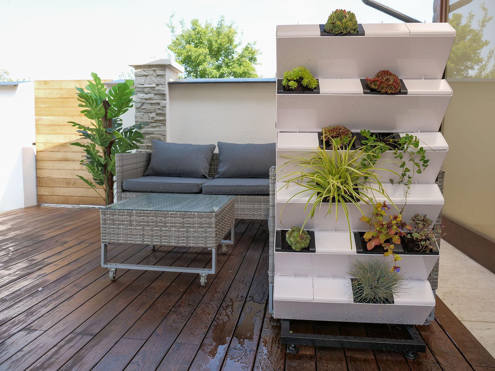Pozsgások, virágzó lágyszárúak és zöldellő növények is beültethetőek a mobil zöldfalba!