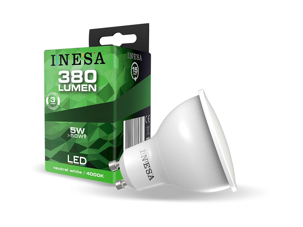 Inesa LED GU10 spot. 5 Watt LED = 50 Watt hagyományos égő.