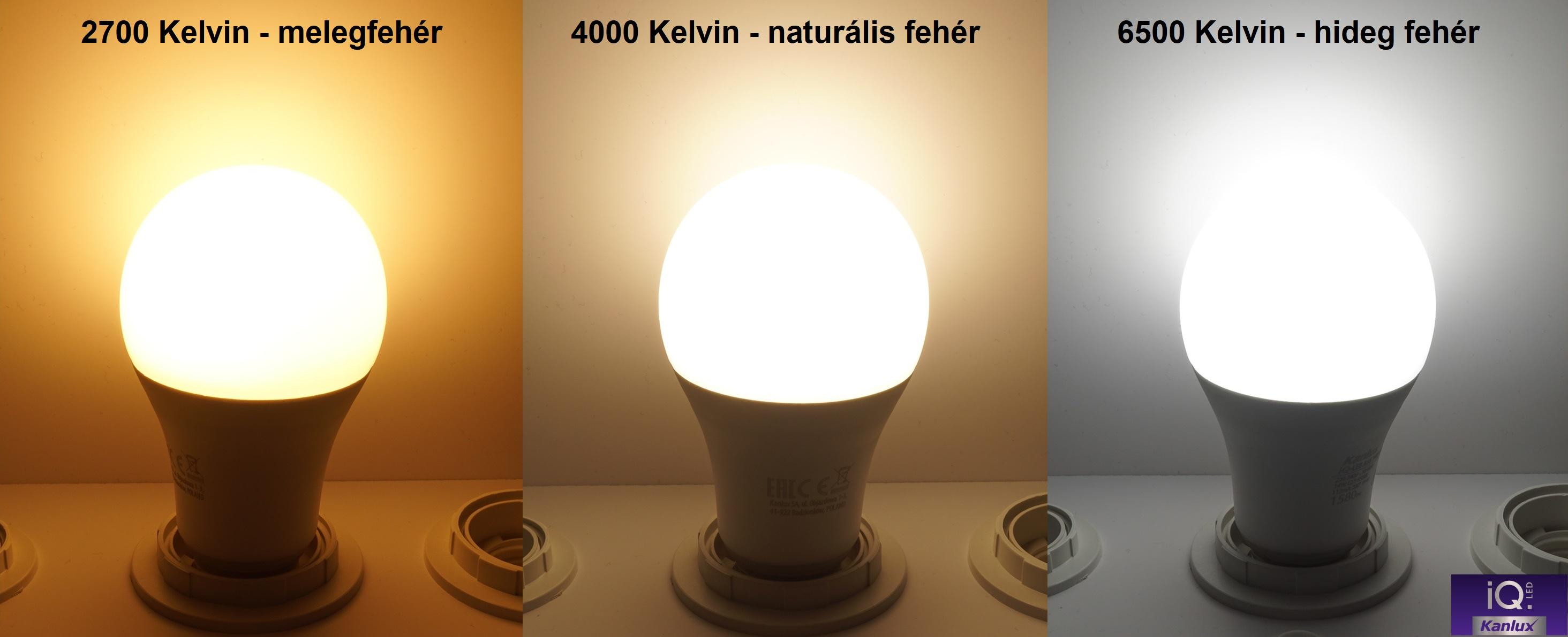 A Kanlux IQ LED izzók fényének színhőmérséklete: 2700 Kelvin melegfehér, 4000 Kelvin természetes fehér, 6500 Kelvin hidegfehér