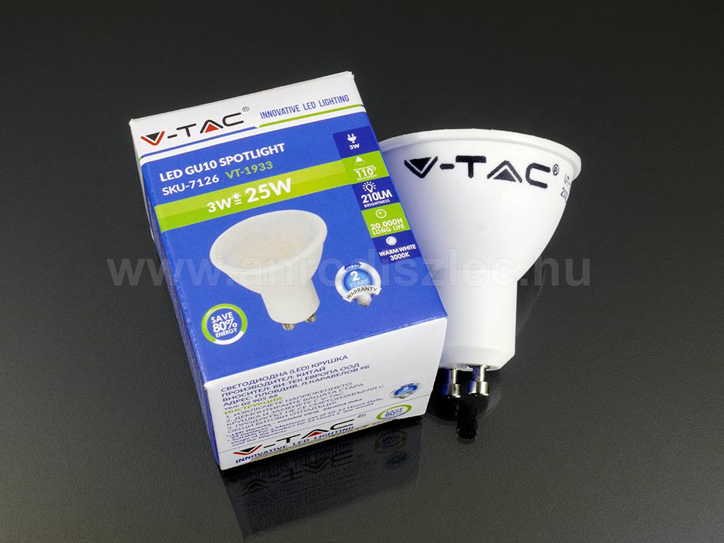 Vtac 3 Wattos LED spotlámpák. 3 Watt LED = 25 Watt hagyományos égő.