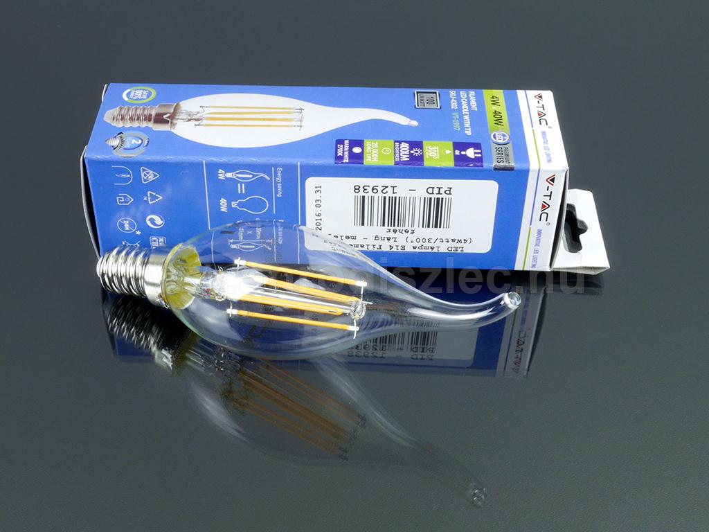 Kis menetes E14 fejű LED villanyégő láng formával 4W = 40W