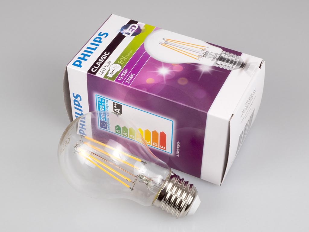 Philips Classic LED lámpa. 6 Watt LED = 60 Watt hagyományos izzó.