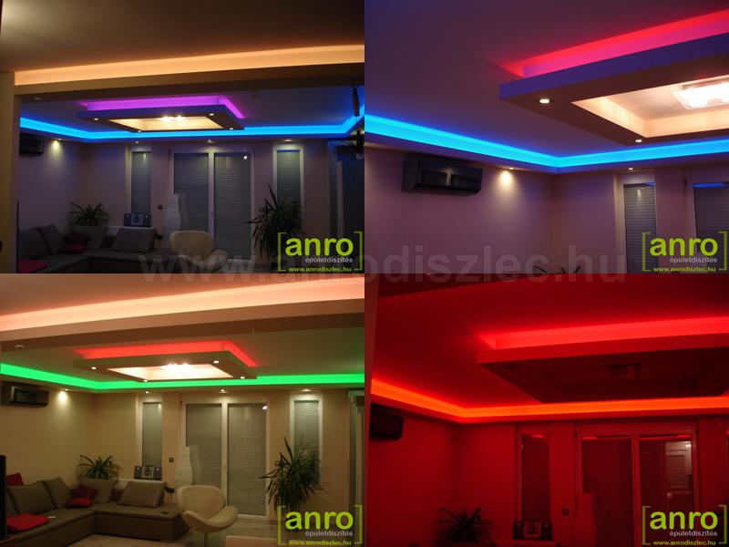 Színváltós LED szalagok gipszkarton álmennyezetben