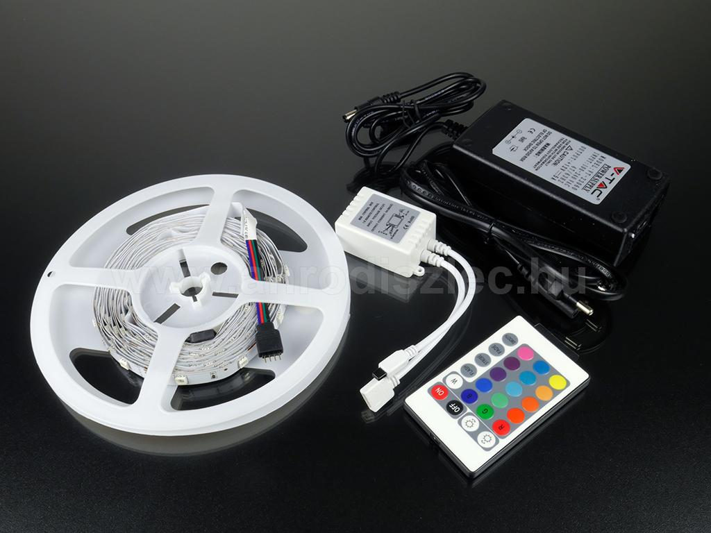 RGB LED szalag szett - RGB LED szalag, dugvillás trafó, nyomógombos RGB szabályzó