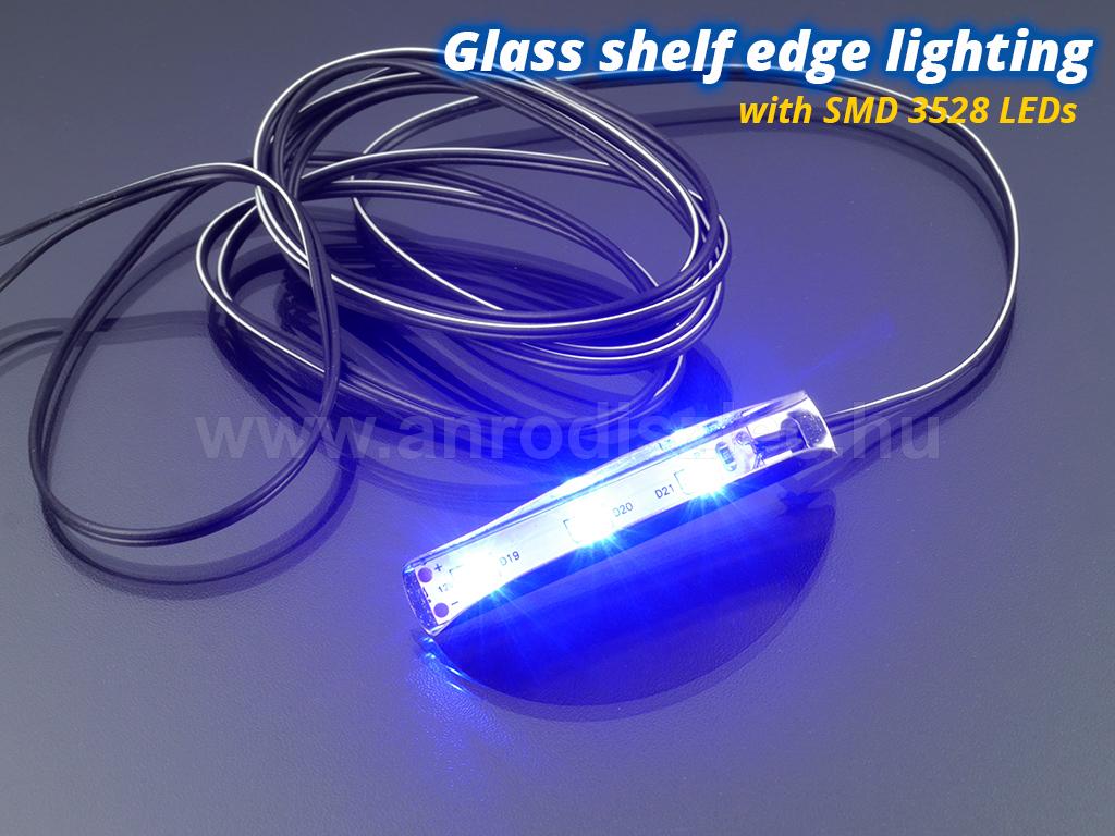 LED üvegpolc élvilágítás, kék 3528 SMD - www.anrodiszlec.hu