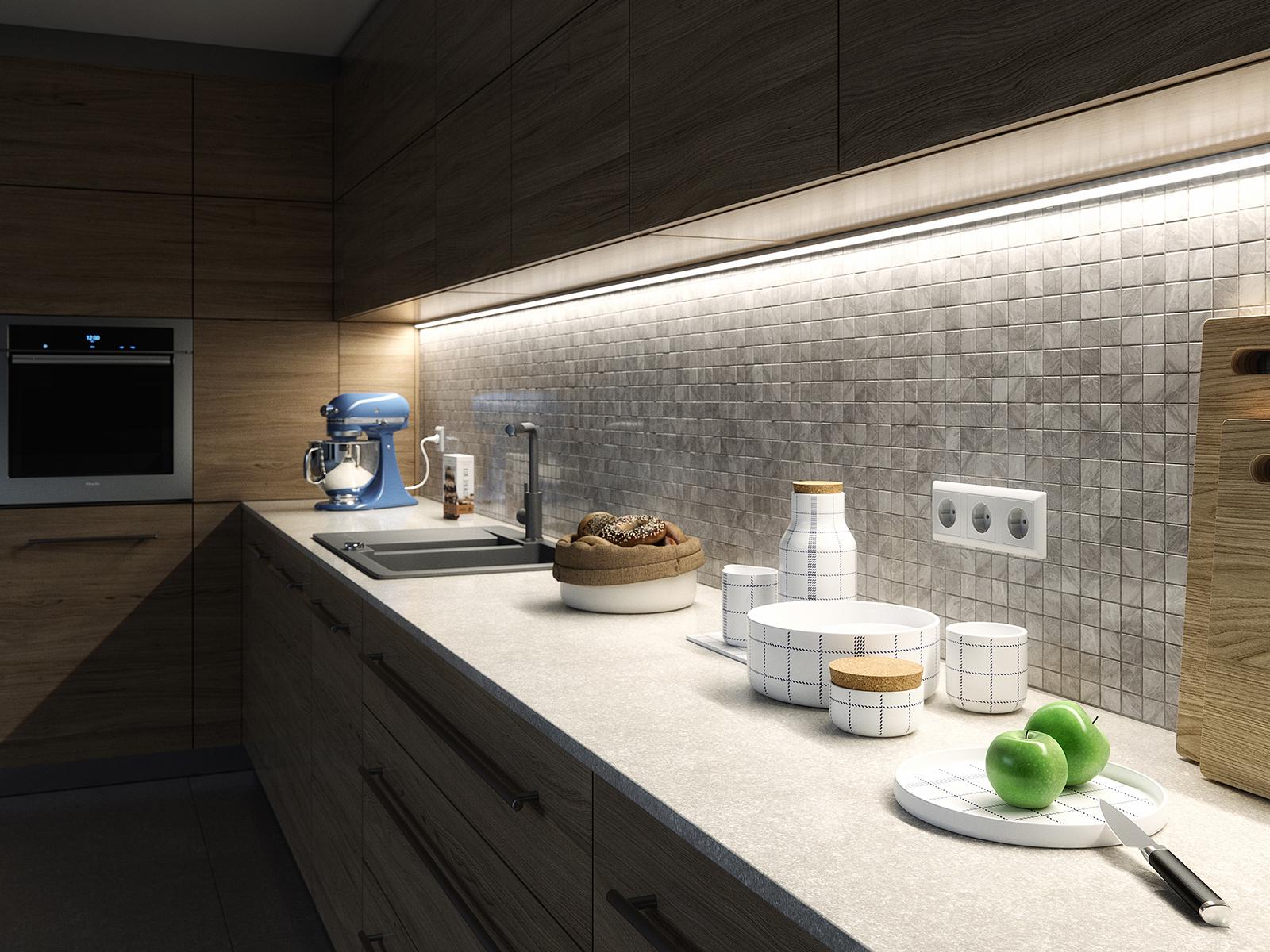 LED szalag profil ötletek: világítás a konyhában