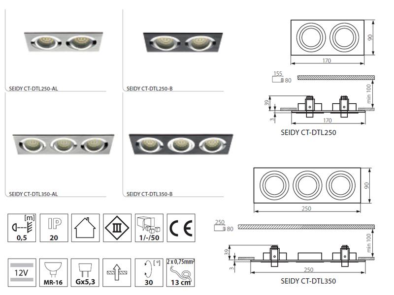 Seidy spotlámpák - alumínium keretes spot 1-2-3 izzóhoz