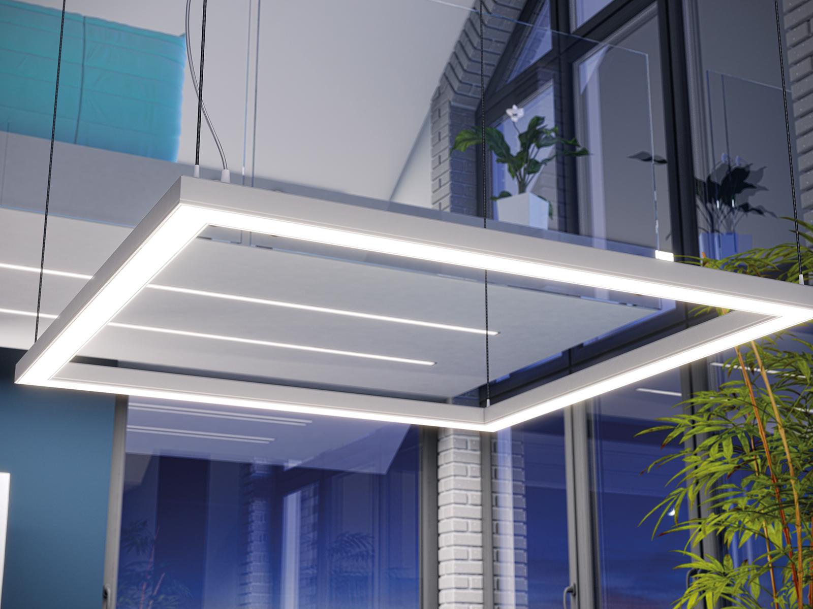 Lumines Iledo LED aluprofil négyzet alakban, függesztve szerelve