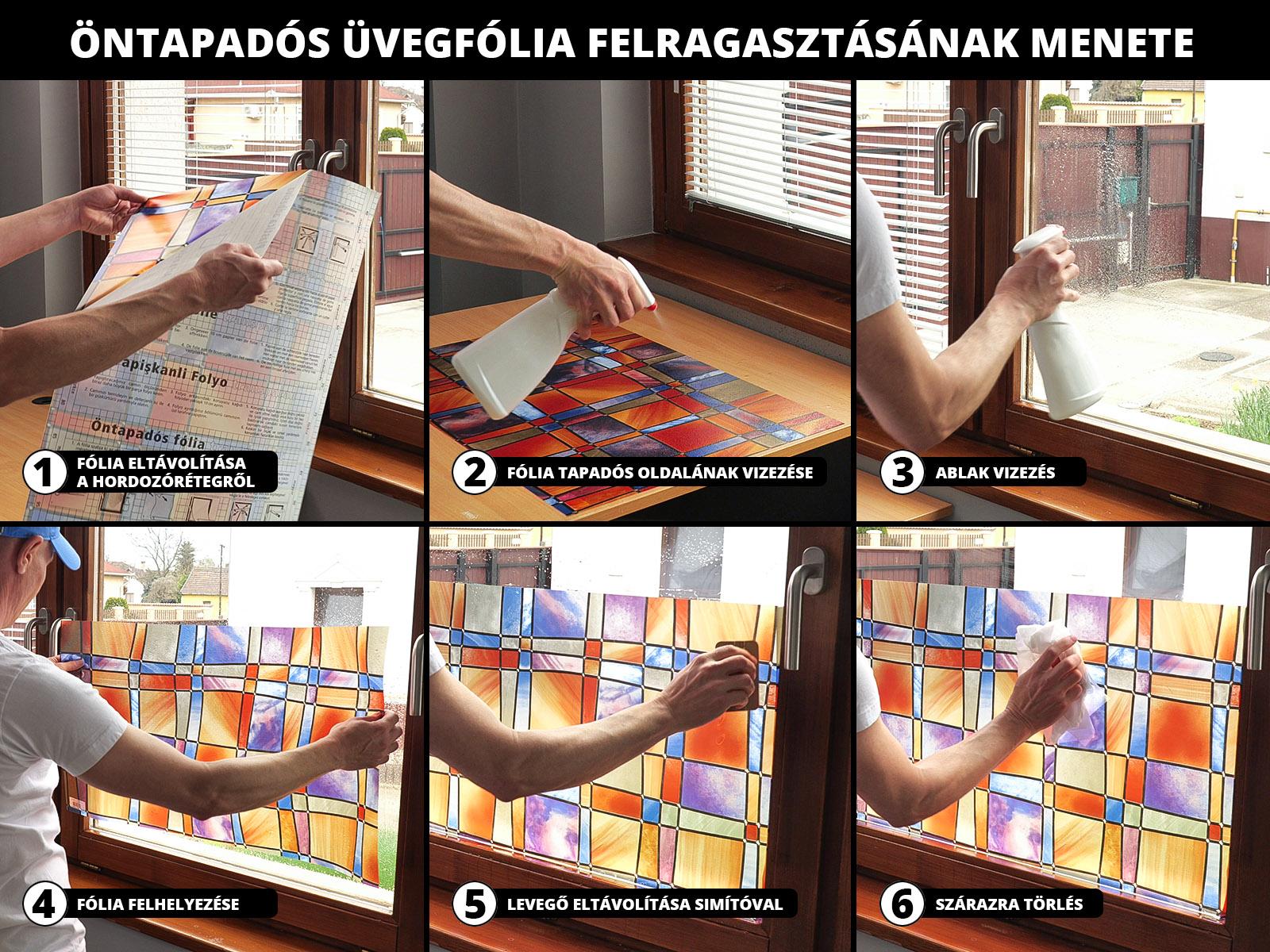 Néhány lépésben, néhány perc alatt elvégezhető az ablakfóliák felragasztása.