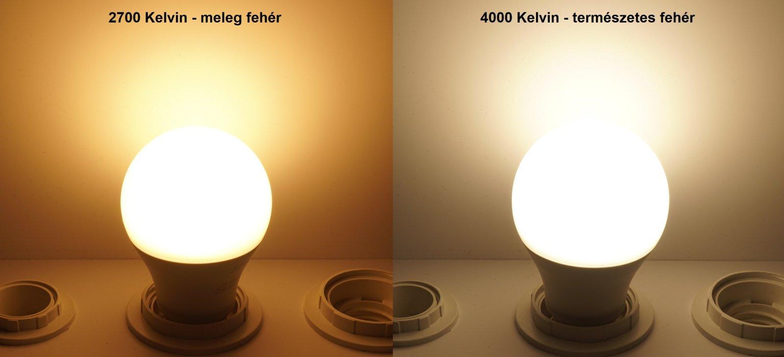 Pila LED izzó fényszín: melegfehér 2700K, természetes fehér 4000K