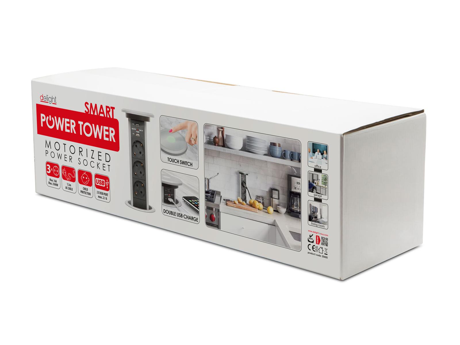 Modern elosztó: motoros működés, érintőgombok, 230V és USB aljzatok, stop biztonsági funkció.